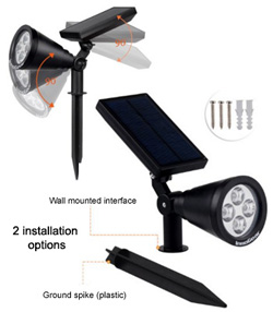 InnoGear Set Of 2 Adjustable Solar Spot Lights with Stakes