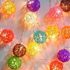 Rattan Cane Wood Fairy Lights