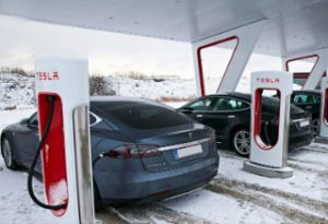 Tesla batteries charge station